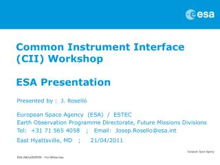 Common Instrument Interface (CII) Workshop    ESA Presentation