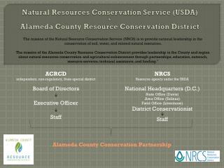 Natural Resources Conservation Service (USDA) & Alameda County Resource Conservation District