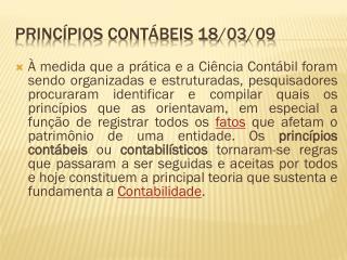 PRINCÍPIOS CONTÁBEIS  18/03/09