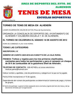 AREA DE DEPORTES DEL AYTO. DE ALHENDIN TENIS DE MESA ESCUELAS DEPORTIVAS