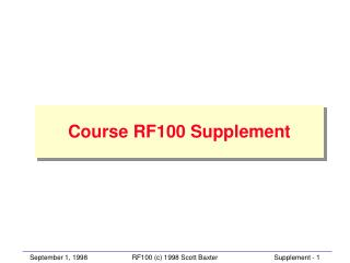 Course RF100 Supplement