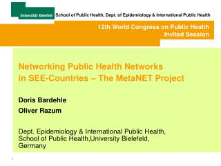 Networking public health networks in SEE-countries - the ...