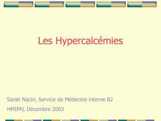 Les Hypercalcémies