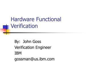 Hardware Functional Verification