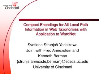 Compact Encodings for All Local Path Information in Web Taxonomies with Application to WordNet