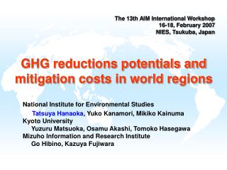 GHG reductions potentials and mitigation costs in world regions