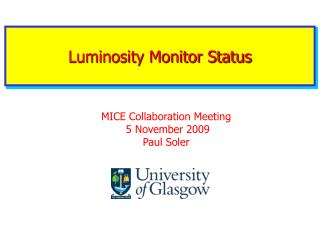 Luminosity Monitor Status