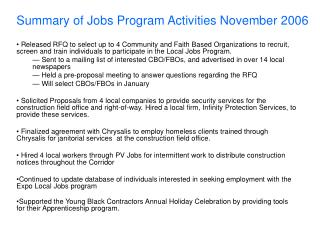 Summary of Jobs Program Activities November 2006