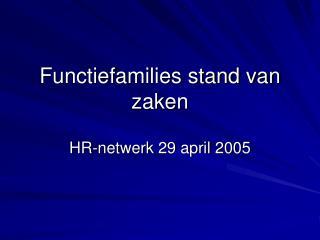 Functiefamilies stand van zaken