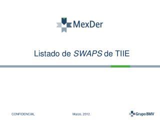 Listado de  SWAPS  de TIIE
