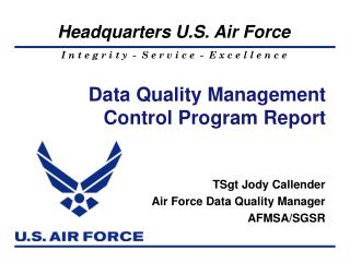 Data Quality Management Control Program Report