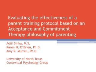 Aditi Sinha, M.S. Karen M. O'Brien, Ph.D. Amy R. Murrell, Ph.D. University of North Texas