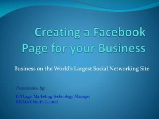 Creating a  Facebook  Page for your Business