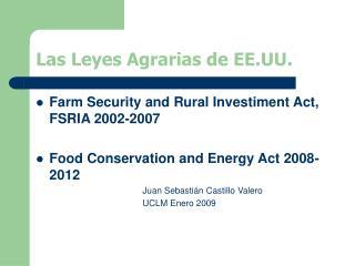 Las Leyes Agrarias de EE.UU.