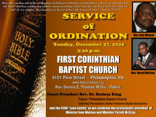 SERVICE of ORDINATION