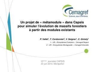 12 ièmes   journées CAPSIS 22 juin 2010, Montpellier