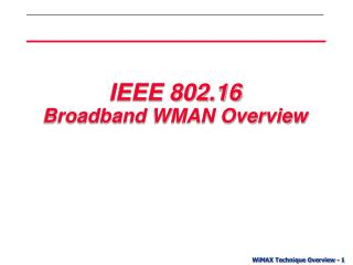 IEEE 802.16 Broadband WMAN Overview
