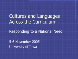 Cultures and Languages Across the Curriculum: