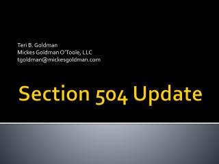 Section 504 Update