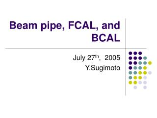 Beam pipe, FCAL, and BCAL