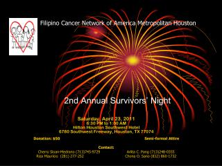 Filipino Cancer Network of America Metropolitan Houston 2nd Annual Survivors� Night