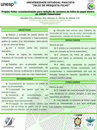 """UNIVERSIDADE ESTADUAL PAULISTA  """"JÚLIO DE MESQUITA FILHO"""""""