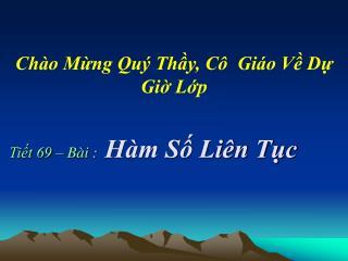 Ti?t 69 � B�i : H�m S? Li�n T?c