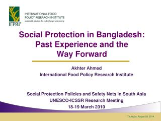 Social Protection in Bangladesh:  Past Experience and the  Way Forward