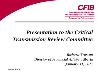 Presentation to the Critical Transmission Review Committee