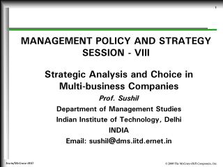 MANAGEMENT POLICY AND STRATEGY SESSION - VIII