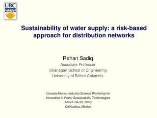 Sustainability of water supply: a risk-based approach for distribution networks