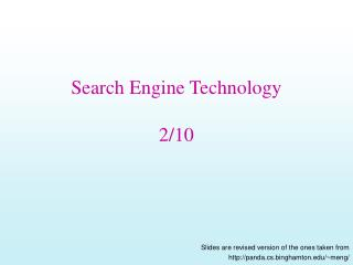 Search Engine Technology 2/10