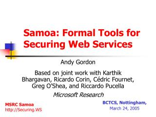 Samoa: Formal Tools for Securing Web Services