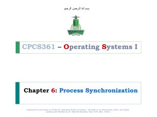 Chapter  6 : Process Synchronization