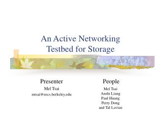 An Active Networking Testbed for Storage