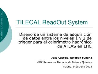TILECAL ReadOut System