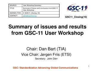 Summary of issues and results from GSC-11 User Workshop