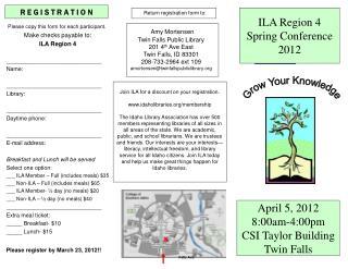 April 5, 2012 8:00am-4:00pm CSI Taylor Building Twin Falls