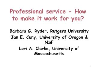 Professional service - How to make it work for you?