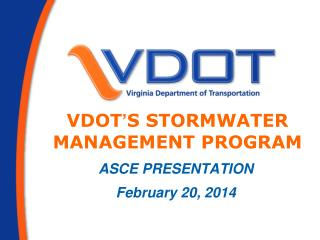 VDOT ' s Stormwater MANAGEMENT Program