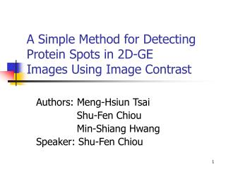 A Simple Method for Detecting Protein Spots in 2D-GE Images Using Image Contrast