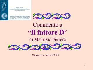 """Commento a """" Il fattore D """" di Maurizio Ferrera"""
