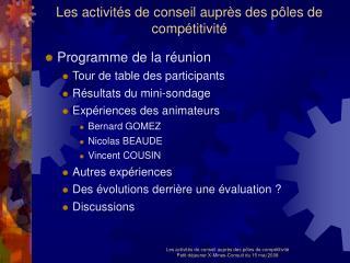 Les activités de conseil auprès des pôles de compétitivité