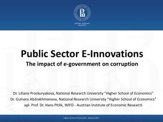 Public Sector E-Innovations The impact of e-government on corruption