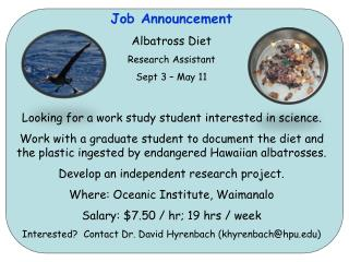 Job Announcement Albatross Diet Research Assistant Sept 3 – May 11