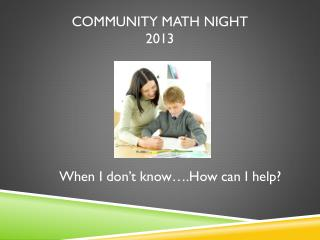 Community Math Night 2013