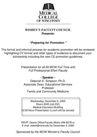 """WOMEN'S FACULTY COUNCIL Presents: """"Preparing for Promotion """""""