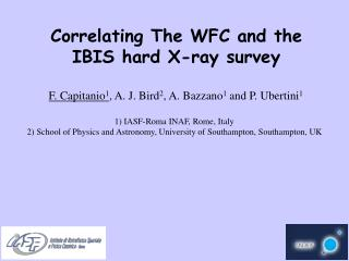 Correlating The WFC and the IBIS hard X-ray survey