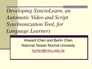 Developing SynctoLearn, an Automatic Video and Script Synchronization Tool, for Language Learners
