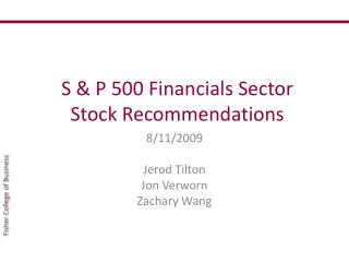 S & P 500 Financials Sector Stock Recommendations